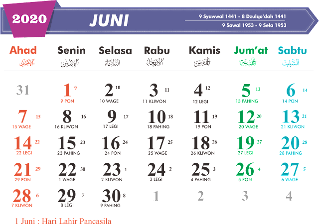 Download Kalender Juni 2020
