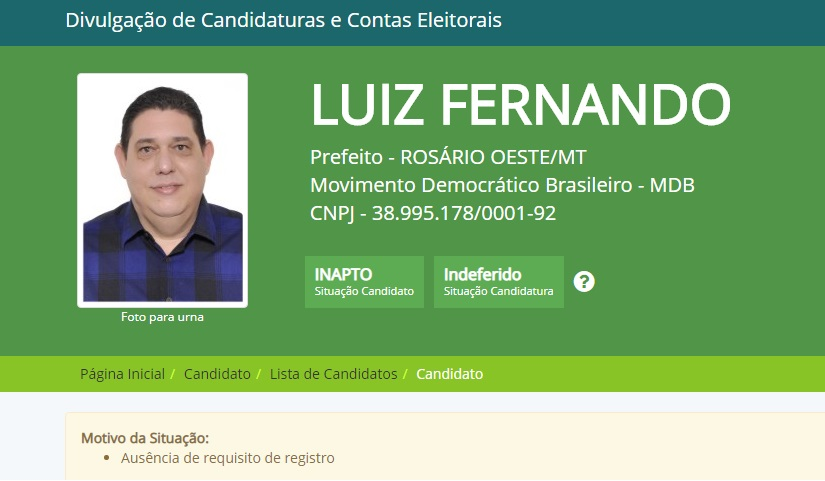 Candidato Luiz Fernando tem candidatura indeferida pelo TRE/MT
