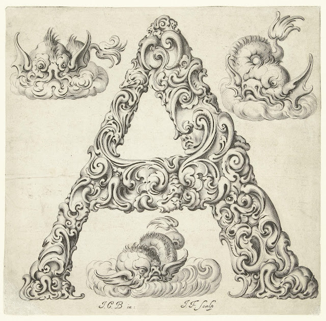 Letter A from Libellus Novus Elementorum Latinorum by Jeremias Falck after Johann Christian Bierpfaf, c. 1650, Rijksmuseum Collection