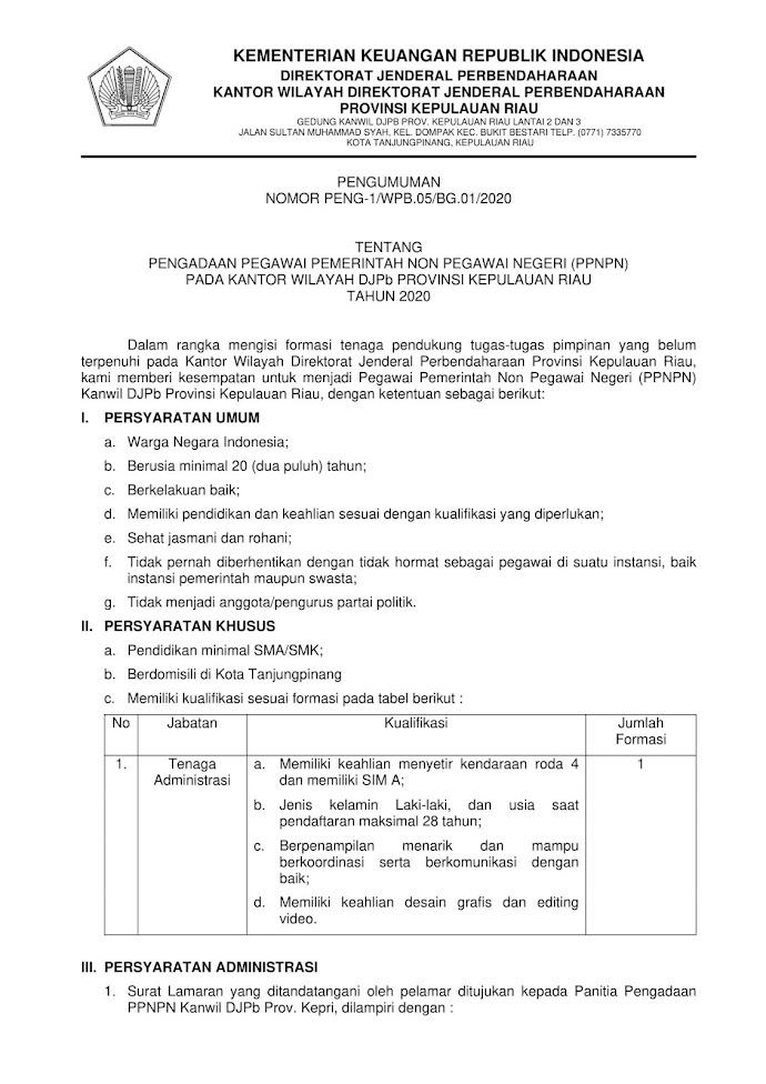 Lowongan Kerja PPNPN Kementrian Keuangan Tahun 2020