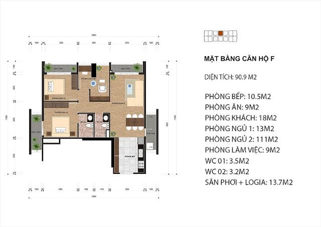 Thiết kế căn hộ F chung cư One 18 Ngọc Lâm
