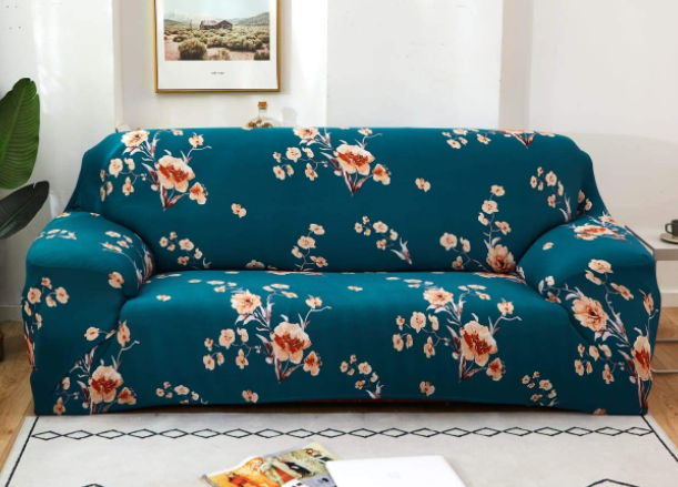 Deejay Spandex & Polyester Fabric | Super Stretchable | Flexible| Non-Slip| Big Elasticity| Perfect Size Sofa Cover Slipcover- 185-230cm Blue Floral, Three-Seater