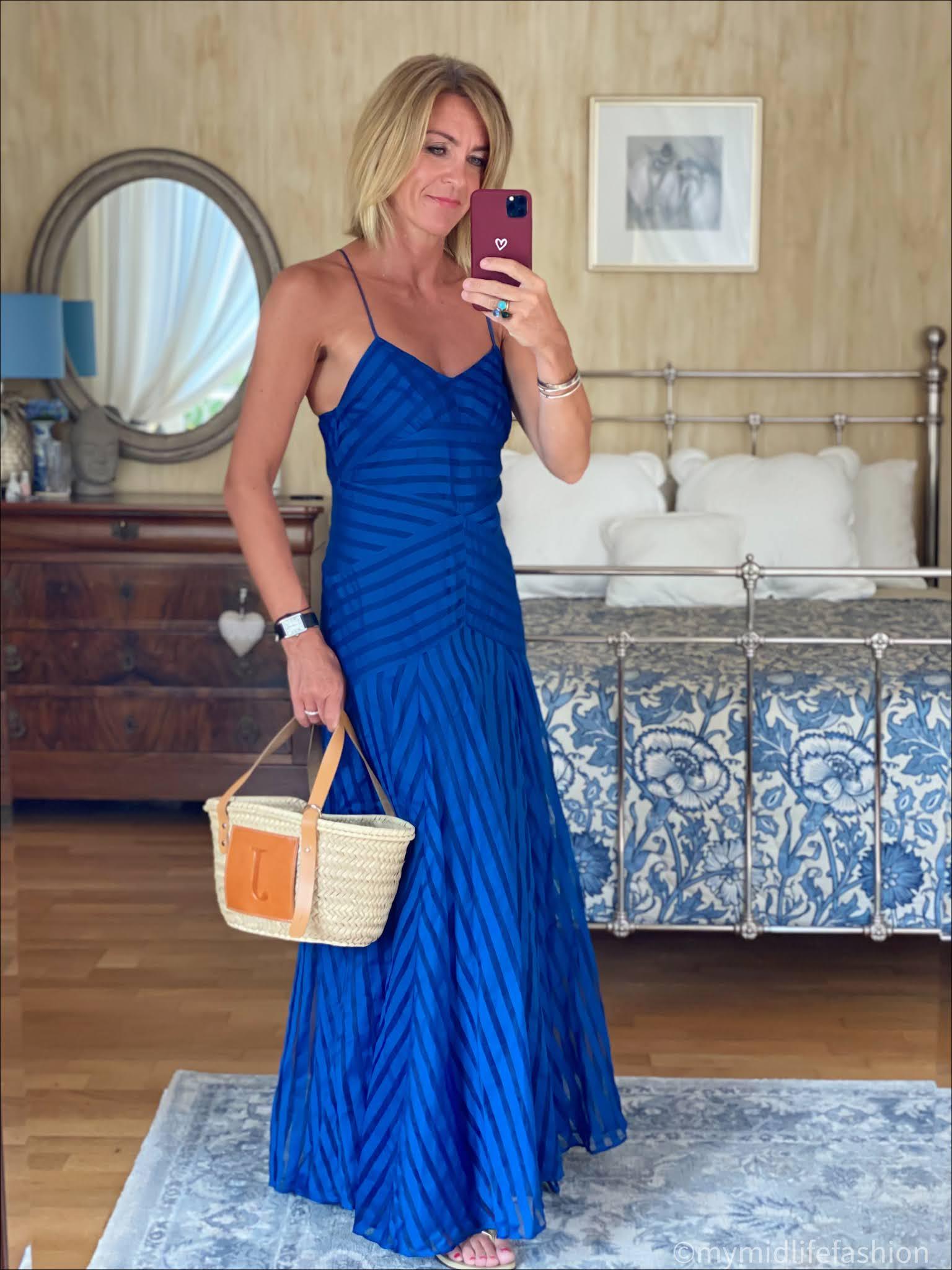 Royal blue spaghetti strap maxi dress, havaianas slim fit gold flip flops, Lada jewellery basket, my midlife fashion