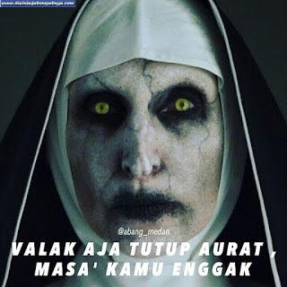 DP BBM Valak The Conjuring Tutup Aurat Pakai Jilbab