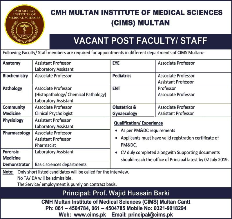 Jobs In CMH Multan Institute of Medical Sciences June 2019