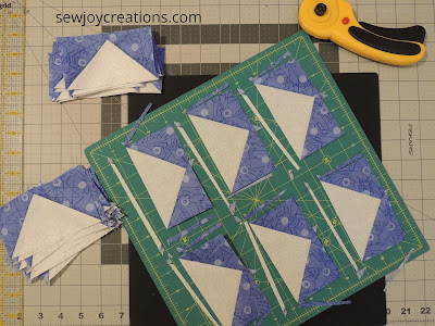 trimming geese blocks rotating cutting mat