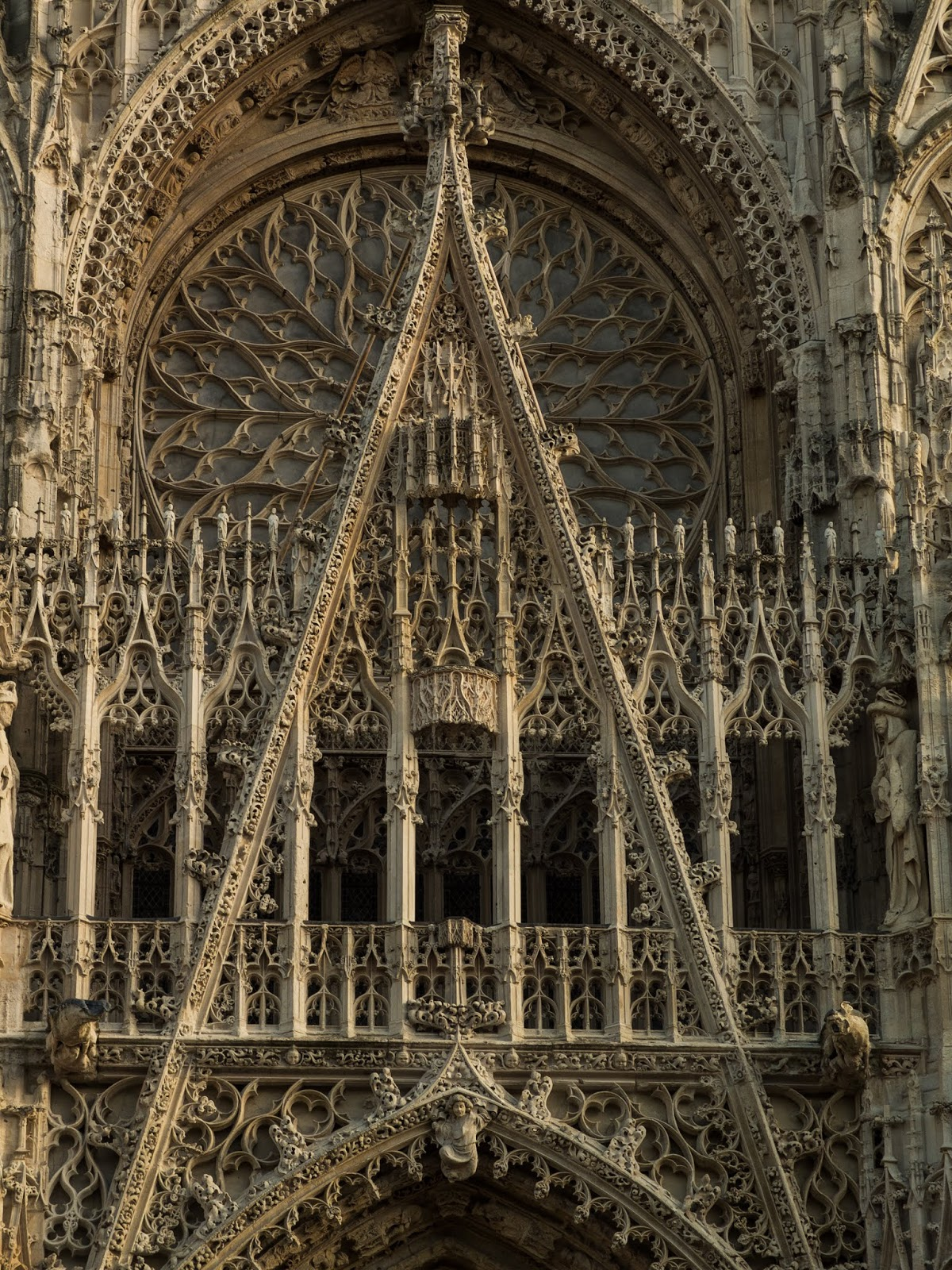 Close up of the centre of the facade in Rouen's Cathedral.