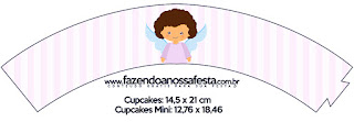 Brunette Angel Girl, Free Printable Cupcake Wrappers.