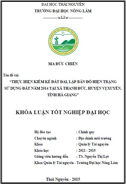Thực hiện kiểm kê đất đai, lập bản đồ hiện trạng sử dụng đất năm 2014 tại xã Thanh Đức huyện Vị Xuyên tỉnh Hà Giang