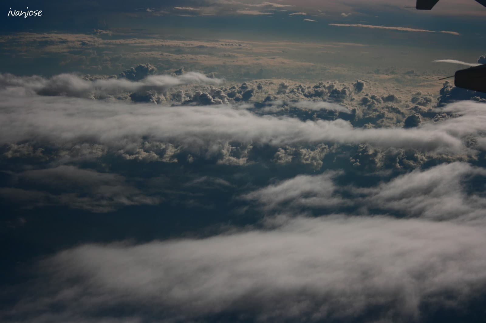 Clouds as viewed from inside the airplane during my first time to fly