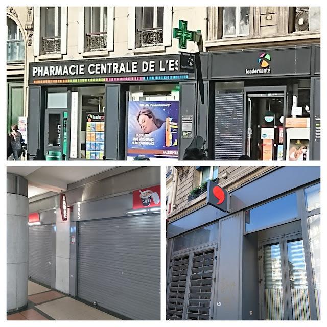 Mosaïque avec 3 enseignes allumées, boutique ouverte pour la première, ce n'est pas le cas pour les 2 du bas.
