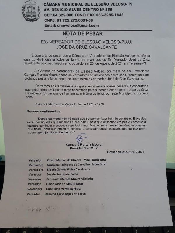 Câmara Municipal de Elesbão Veloso publica nota de pesar em favor do ex-vereador Zé Boné