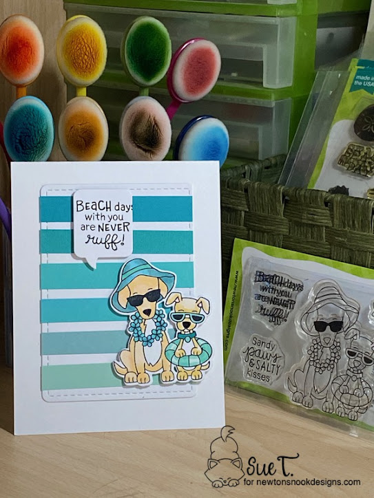 Beach days with you are never ruff by Sue features Beach Barks by Newton's Nook Designs; #inkypaws, #newtonsnook, #cardmaking, #summercards, #dogcards