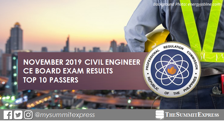 RESULTS: November 2019 Civil Engineer CE board exam top 10 passers