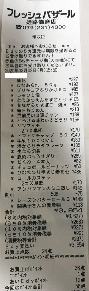 フレッシュバザール 姫路飾磨店 2020/3/2 のレシート