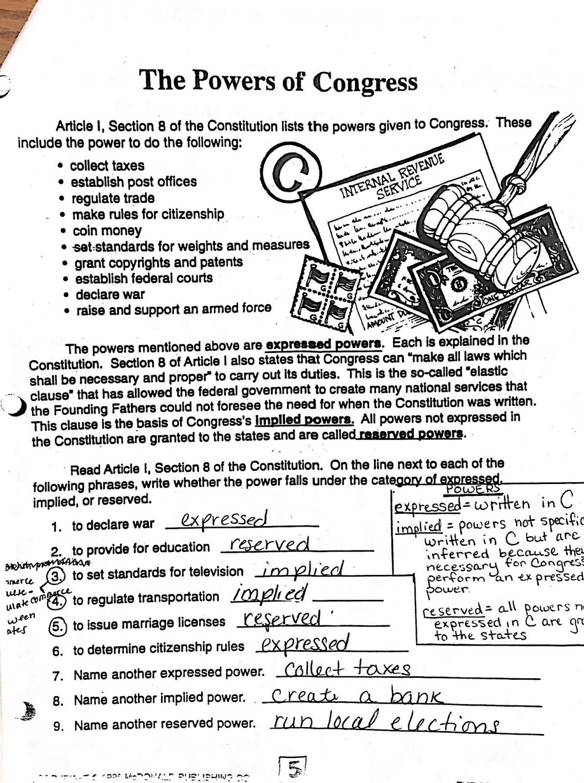 Mr. Deshler's Classroom: Legislative Branch Packet Answers