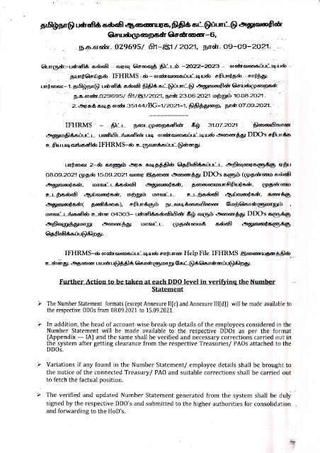 DSE வரவு செலவுத் திட்டம் -2022-2023 எண்வகைப்பட்டியல் தயார்செய்தல் - IFHRMS-ல் - எண்வகைப்பட்டியல் சரிபார்த்தல்-சார்ந்து நிதிக்கட்டுப்பாட்டு அலுவலரின் செயல்முறைகள்