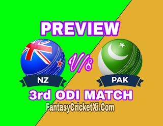 PAK Vs NZ 3rd ODI DREAM11 TEAM