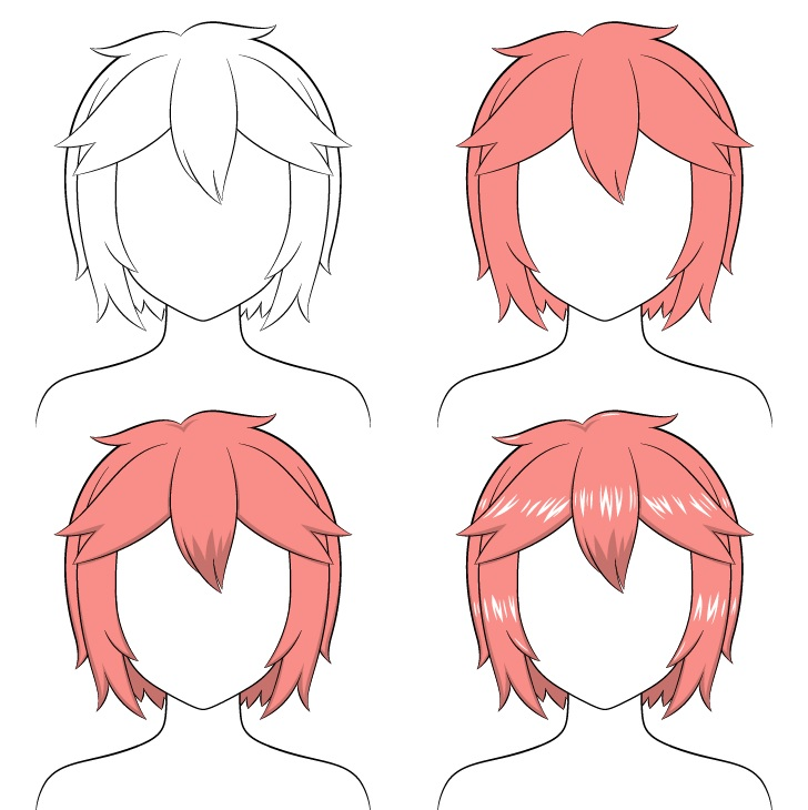 Shading anime rambut pendek berantakan selangkah demi selangkah