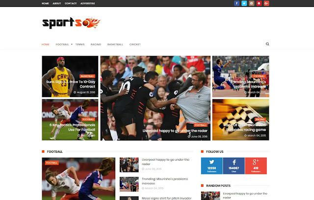 SportsMag Responsive Magazine News Portal Blogger Template Theme