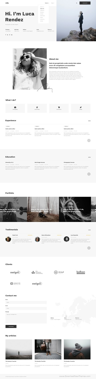 Personal Resume vCard Adobe XD Template