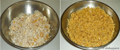 cooked cocnut jaggery filling
