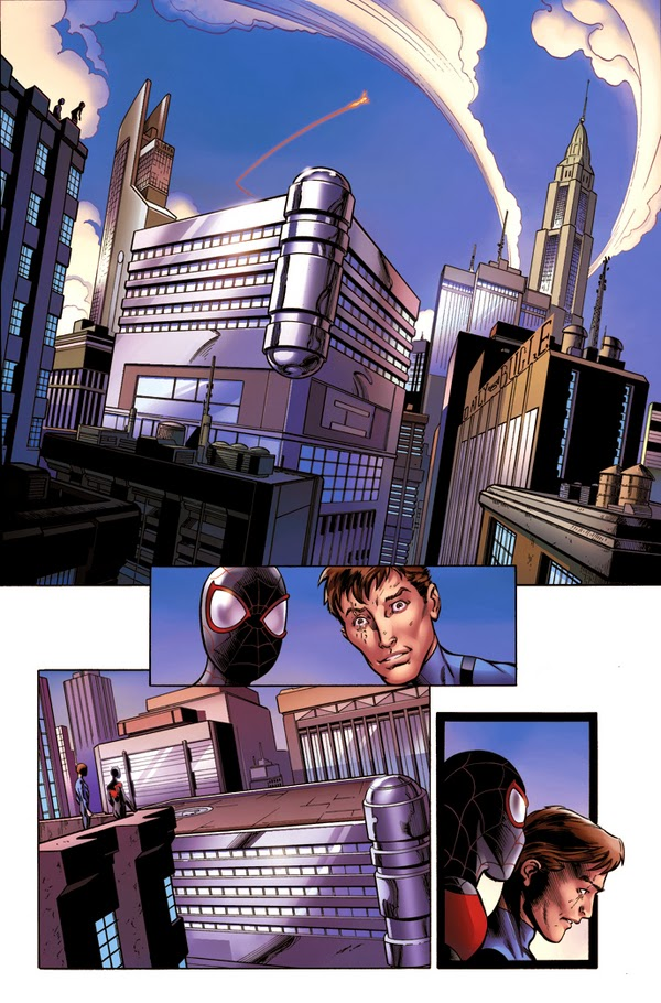 Miles and Evil Reed Richards arrive in the Marvel 616 Universe