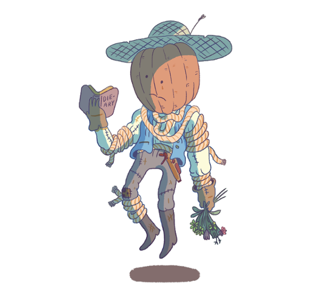 "a floating pumpkin headed friend holding a bouquet of flowers and a book labeled ""Die-ary"""
