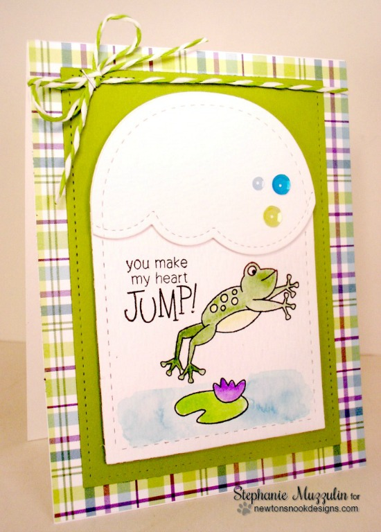 You Make My Heart Jump Frog Card by Stephanie Muzzulin | Hoppy Days stamp set by Newton's Nook Designs #newtonsnook