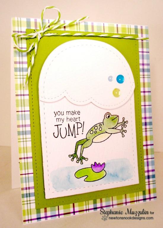 You Make My Heart Jump Frog Card by Stephanie Muzzulin | Hoppy Days stamp set by Newton's Nook Designs #newtonsnook