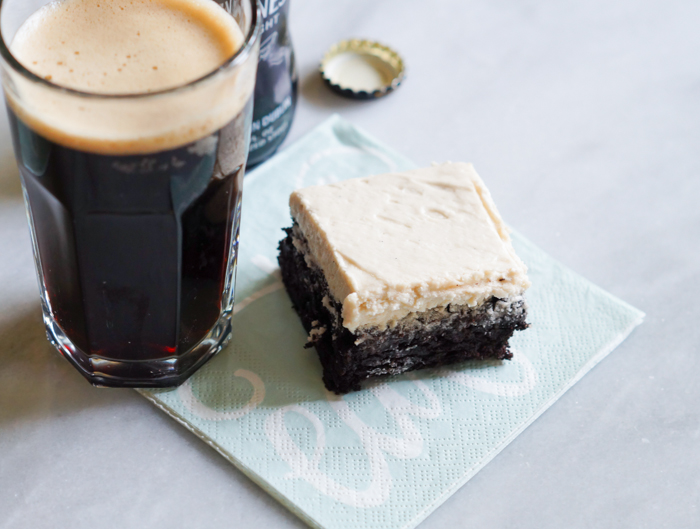 Guinness-Vanilla Bean Frosted Mocha Brownies | bakeat350.net