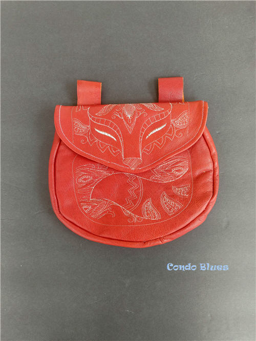 how to home sewing machine embroider leather belt bag pouch