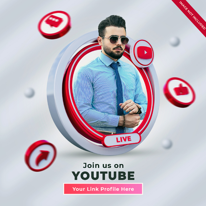 Youtube Social Media Square Banner With 3D Logo Link Profile Box