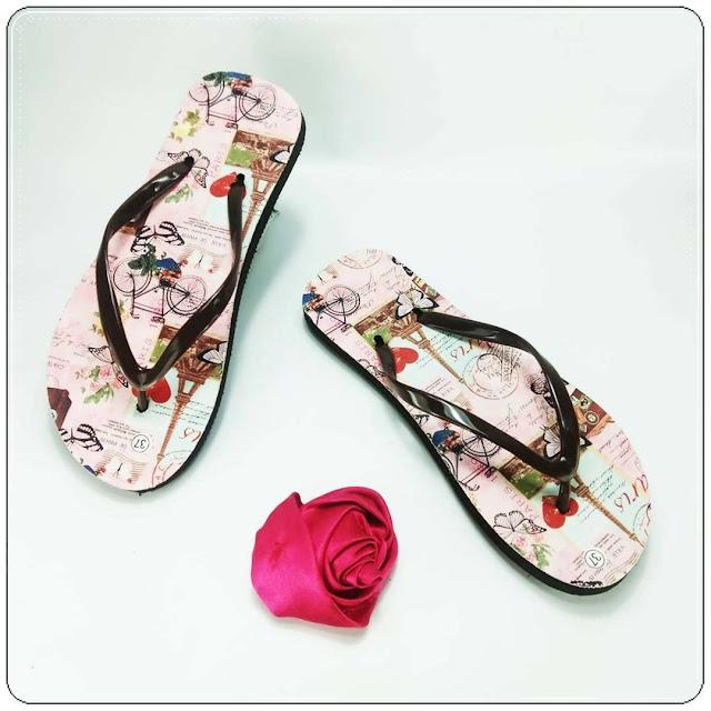 Sandal Teplek Sablon Termurah- Sandal AMX Spon Motif- Bunga Wanita- GSJ
