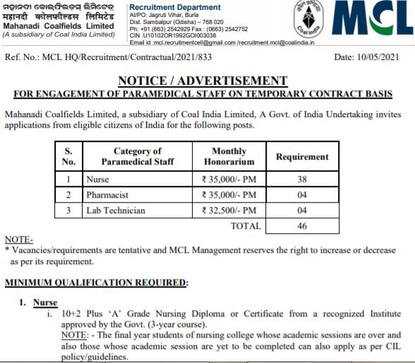MCL Nurse Recruitment 2021 online form