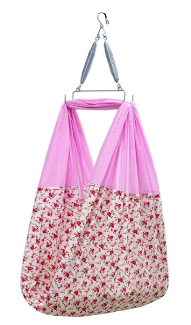 Little Chime New Born Baby Ventilated Cradle Cloth with Spring Set and Mosquito Protection Net/Jhula/Jhoola/Hanging Swing/Cradle Cloth (Pink)