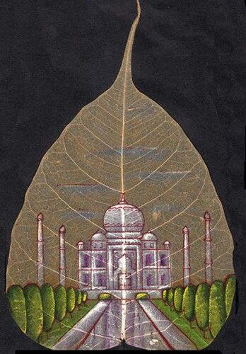 peepal leaf painting tac mahal