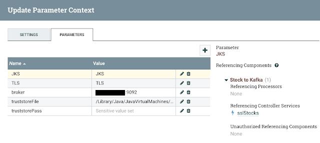 Updating parameter context
