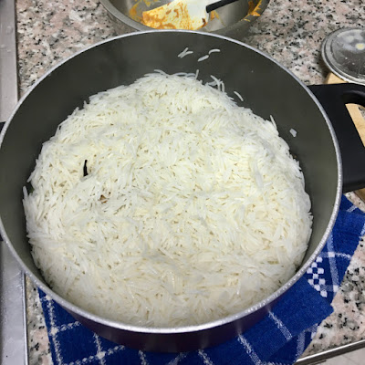topped with the par boiled rice