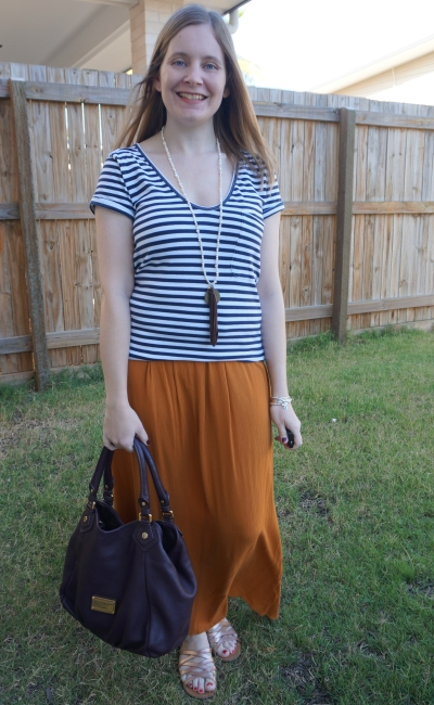 marc by marc jacobs classic q fran bag with navy striped tee, orange maxi skirt, gold sandals in spring | away from the blue