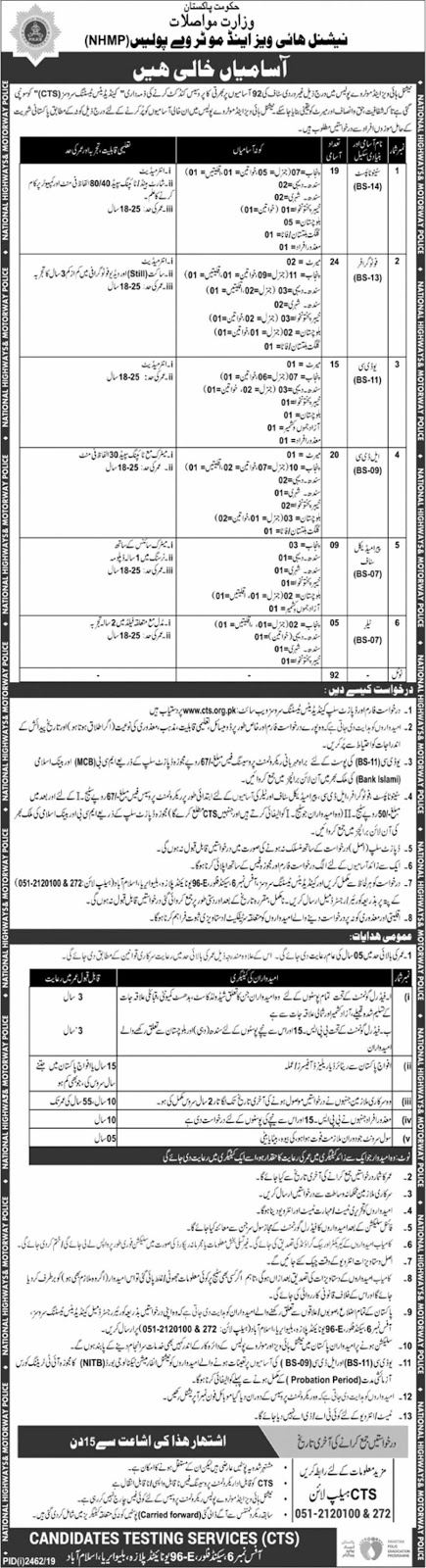 CTS Jobs in National Highways & Motorway Police NHMP