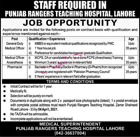 Latest Jobs in Punjab Ranger Teaching Hospital Lahore 2021