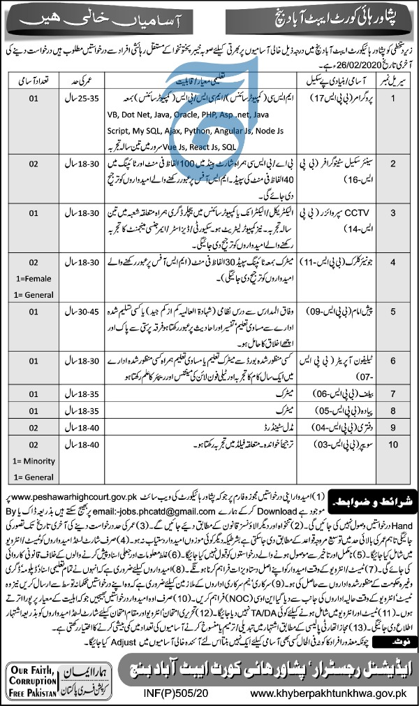 Jobs in Peshawar High courts Latest advertisement 2020