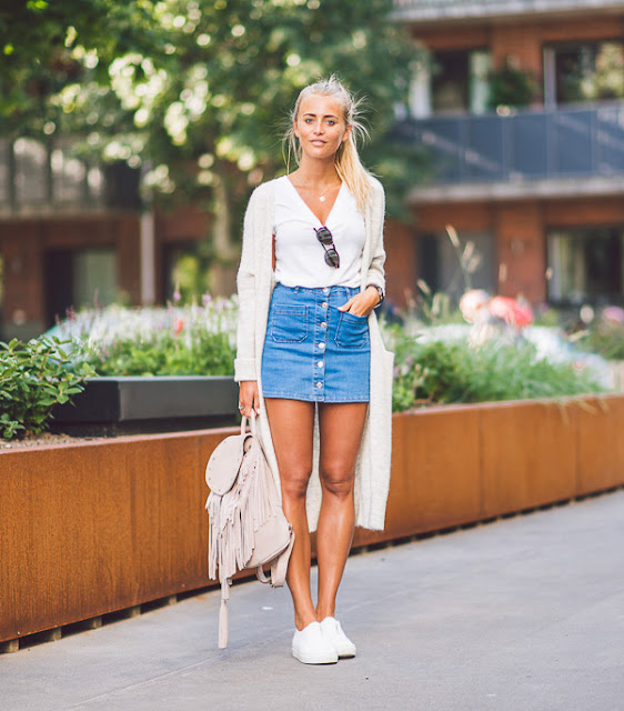 outfit gonna di jeans come abbinare la gonna di jeans abbinamenti gonna jeans denim skirt outfit how to wear denim skirt tendenze estate 2016 mariafelicia magno fashion blogger colorblock by felym fashion blogger italiane fashion bloggers italy