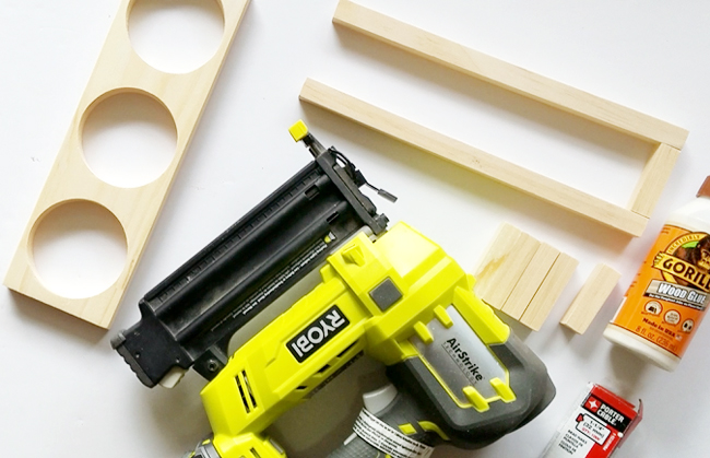 Ryobi cordless nailer, Gorilla glue and wooden pieces