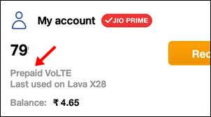 check prepaid in my jio app