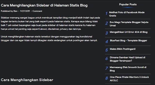 Cara Menghilangkan Sidebar di Halaman Statis Blog