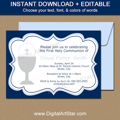 digital holy communion invitations printable pd file - navy & blue