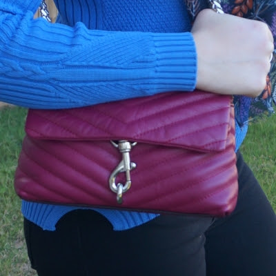 ribbed blue knit jumper with Rebecca Minkoff Edie small crossbody bag in magenta | awayfromtheblue