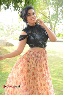 Actress Chetana Uttej Stills in Floral Long Skirt at Pichiga Nachav Movie Press Meet  0033.JPG